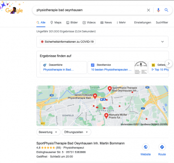 Google MyBusiness SportPhysioTherapie